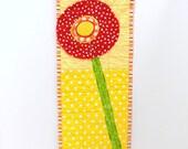 poppy wall quilt- single stem red poppy on yellow