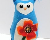 Sale- felt owl- 8 inch Hoot owl in blue with large red and orange poppy- Ready to ship