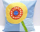 poppy pillow cover in yellow, orange and blue on blue background, Ready to ship