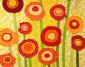 poppy quilt -baby/ wall art quilt- ''Poppies Full of Sunshine''