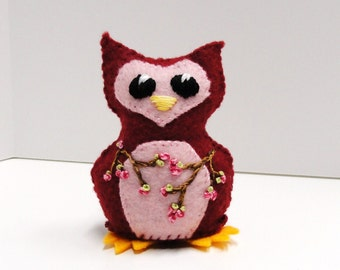 Sale- felt owl- wee feltie owlet in burgundy and pink with apple blossoms, Ready to ship