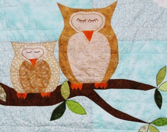 owl baby quilt- ''How Big is the Sky'' nursery quilt, crib quilt, wall hanging MADE TO ORDER