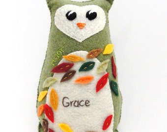 "Sale- felt owl- 8 inch stuffed Hoot owl in olive green with Autumn leaves ""Grace"", Ready to ship"