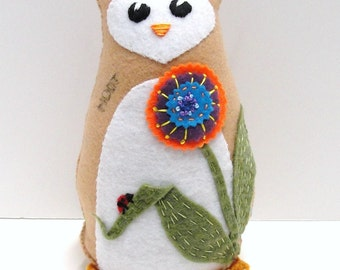 Sale- 8 inch  stuffed felt owl- Hoot in tan with flower and ladybug- orange, blue, purple,  Ready to ship