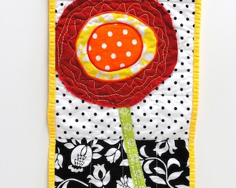 poppy wall quilt- single stem red poppy on black and white background, wall art, wall hanging Ready to ship