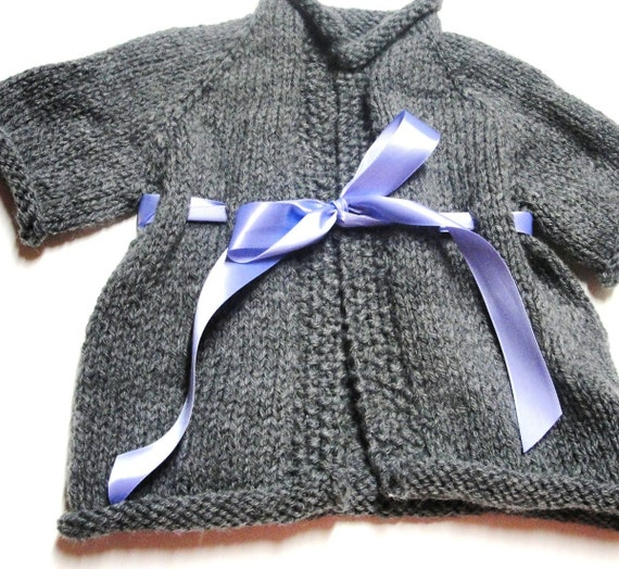 Baby sweater- cardigan  in gray with lavender tie ribbon- 6-9 months size