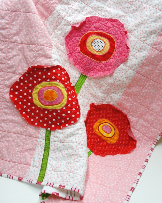 January SALE- poppy quilt- baby/wall art quilt- ''three poppies''- in red, pink, orange and yellow
