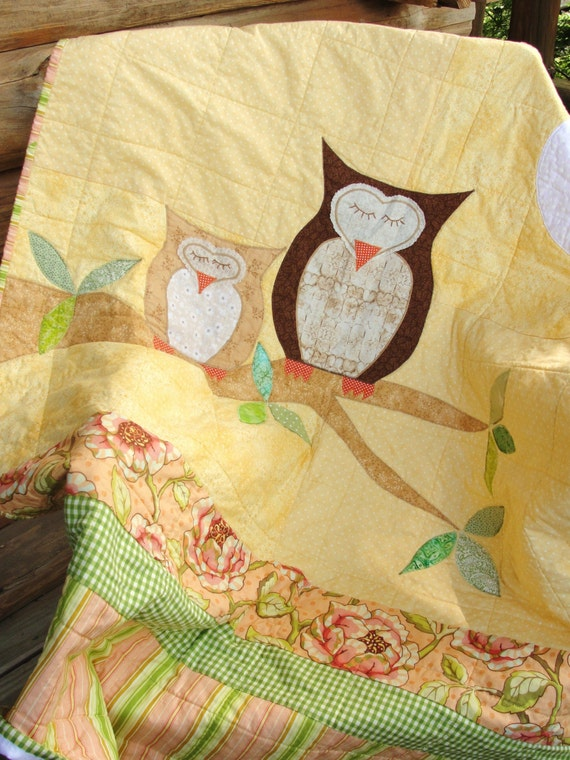 Owls Baby Quilt How Big Is The Sky In Yellow Apricot And