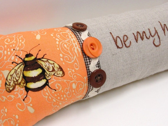 """hand embroidered bee pillow """"be my honey"""""""