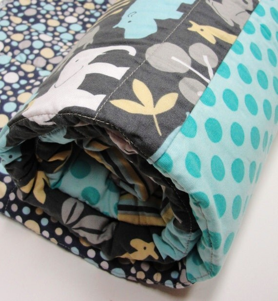 "safari baby quilt- ""Safari Friends"" in gray, turquoise, honey  and white"