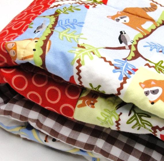 "woodland animals baby quilt ""back yard friends"" raccoons, owls, birds, opposum, cabin style"