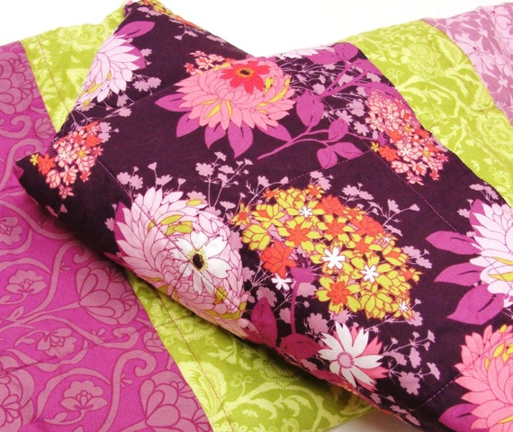 """baby girl quilt- purple, green and coral floral- """"Enchanted Garden"""""""