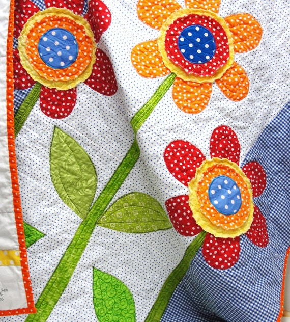 baby quilt- large flowers in red, orange, yellow, blue - wall hanging, crib quilt, garden, READY TO SHIP