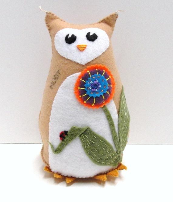 Sale- 8 inch  stuffed felt owl- Hoot in tan with flower and ladybug- orange, blue, purple,  Ready to ship