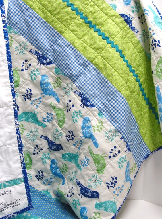 "baby quilt- birds in green, turquoise, royal and periwinkle blue  with rick rack- ""chirp"", READY TO SHIP"