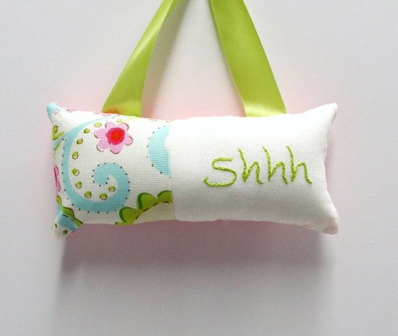 Shhh pillow- doorknob pillow hand embroidered with floral-Christmas in July, christmasinjuly, FREE US SHIPPING