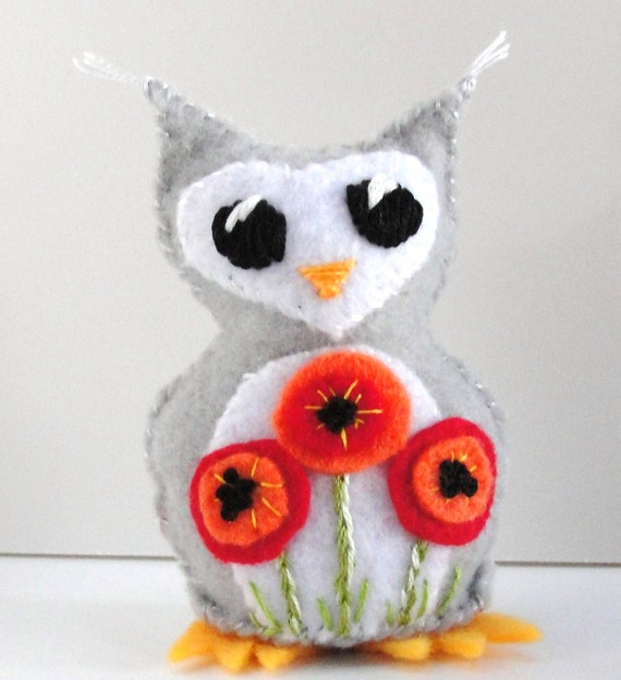 Sale- felt owl- stuffed wee feltie owlet in gray with bright red and orange poppies- Ready to ship
