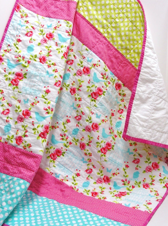 """RESERVED FOR VICTORIA Baby girl quilt- """" garden song""""  in pink, turquoise, green- birds, bird cages, butterflies, roses crib quilt"""