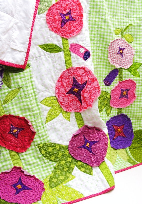 "Baby quilt- wall art quilt - ""Hollyhock Garden"" appliqued crib quilt, nursery, hand-embroidered, READY TO SHIP"