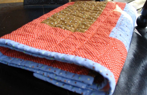CLEARANCE baby quilt- preemie /stroller/ car seat  Orange and blue