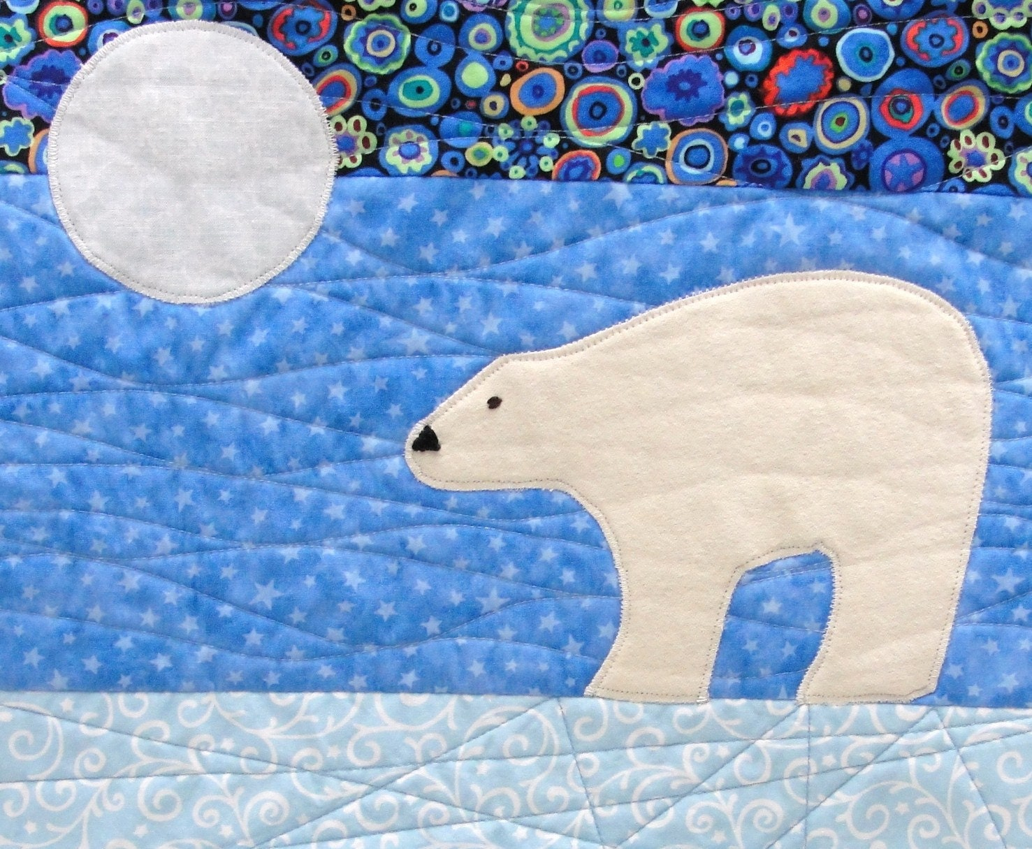 Polar Bear Wall Quilt Peace Hand Embroidered In