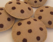 Felt food chocholate chip cookies set of five