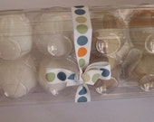 A dozen wool felt eggs with plastic carton, felt food eggs, egg, toy eggs, play food eggs