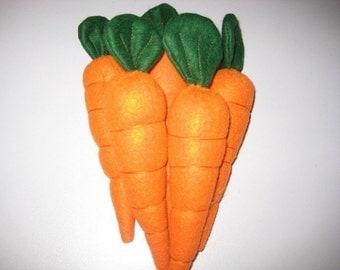 Set of five felt carrots felt food carrots play food carrots