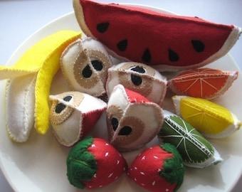 Felt Fruit Play Food Set, felt food, felt fruit, strawberries, watermelon, apples, lime, orange, banana