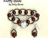 Cranberry Beaded Macrame Bracelet with matching Earrings - Ruby Red, Black and White - Vintage Glass Button