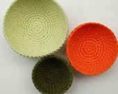 Set of Crochet Bowls-- Ivory, Orange, Green-- 3 together