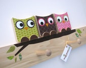 Owl Friends Peg Rack - Kiwi Green, Chocolate Brown and Hot Pink - eco-friendly - by Maple Shade Kids