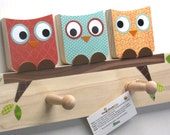 Owl Friends Peg Rack - Orange, Blue and Red - eco-friendly by Maple Shade Kids