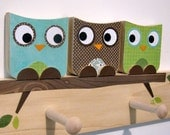 Owl Friends Peg Rack - Blue, Brown and Green - eco-friendly- by Maple Shade Kids