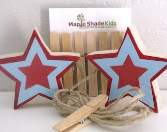 Star Art Display Clips, Blue and Red, Picture display, eco-friendly by Maple Shade Kids