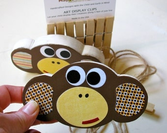 Monkey Art Display Clips - eco-friendly - by Maple Shade Kids