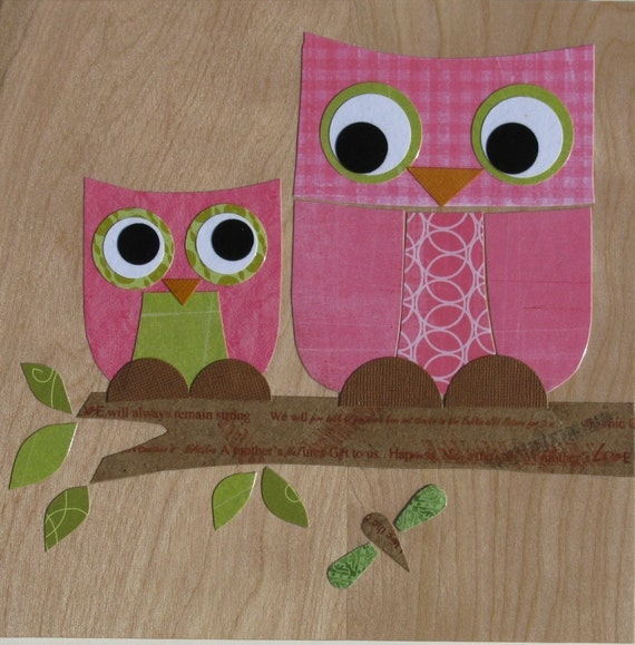 Pink Mother and Child Owl Collage - eco-friendly - FREE DOMESTIC SHIPPING