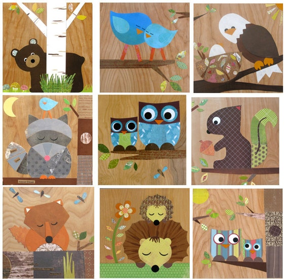 Any 3 Woodland Themed Wooden Art, Forest Themed Art, Nursery Wall Art, Kids Wall Art, Wooden Plaque, eco friendly