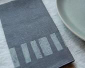 block napkin pair - smoke with white