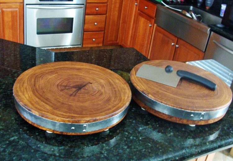 End Grain Mesquite Wood Round Cutting Board By Mesquiteforge