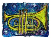 Jazz Horn- MATTED to 11x14 PRINT