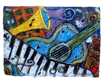 Blue Guitar New Orleans Jazz and Blues- MATTED PRINT