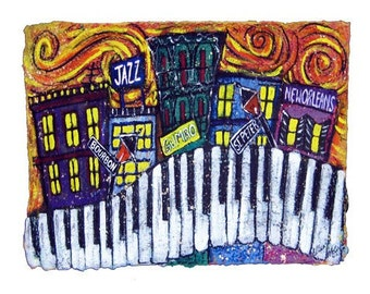 Music City, New Orleans PRINT matted to fit 11x14 frame