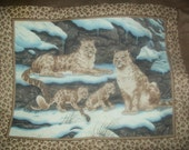 Vip Cranston 100 % Cotton Snow Leopard Family Quilt Wall Hanging Panel Unfinished