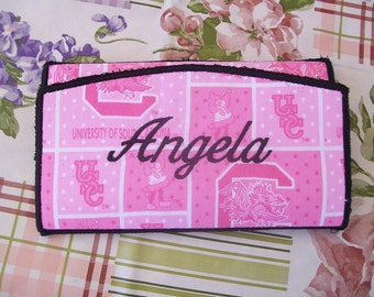 Embroidered Pink Carolina Gamecock Checkbook Style Tri-fold Wallet