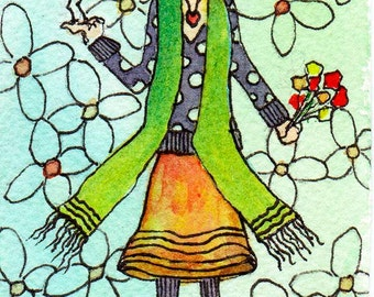 ACEO Farewell Friend  Print of original watercolor & ink painting