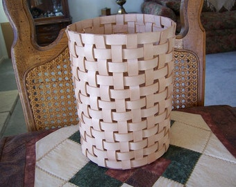 Round Tall  Woven Leather Basket