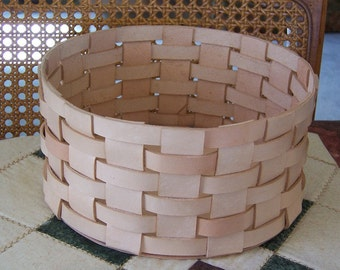 Round Woven Leather Basket