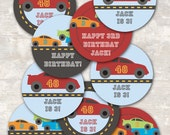 PRINT & SHIP Race Car Birthday Party Cupcake Toppers (set of 12)