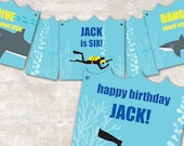 PRINT & SHIP Shark and Scuba Birthday Party Pennant Banner >> personalized and shipped to you <<
